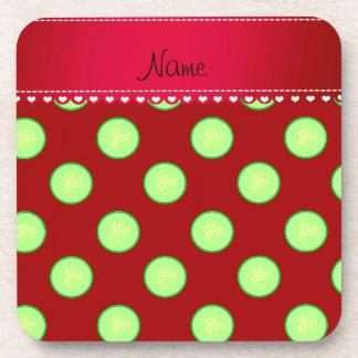 Rebanada verde roja conocida personalizada del posavasos