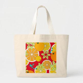 Rebanadas anaranjadas con sabor a fruta y pájaros bolsa tela grande