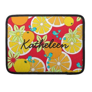 Rebanadas anaranjadas con sabor a fruta y pájaros fundas para macbooks