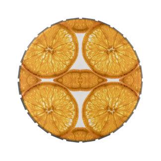 Rebanadas anaranjadas jugosas frascos de dulces