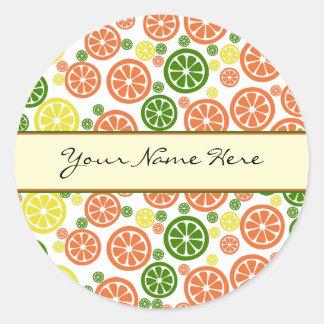 Rebanadas anaranjadas personalizadas del limón y pegatina redonda