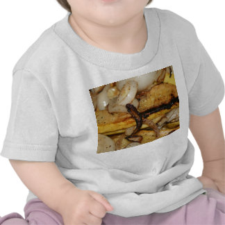 Rebanadas asadas a la parrilla de la cebolla y camiseta