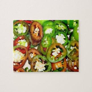 Rebanadas coloridas de la pimienta del Jalapeno Puzzle Con Fotos