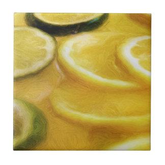 Rebanadas de la cal del limón de la fruta cítrica azulejo cuadrado pequeño