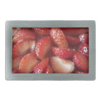 Rebanadas de la fresa, bocado sano de la comida, hebilla cinturón rectangular