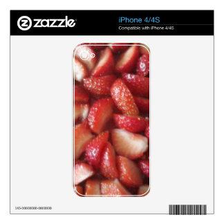 Rebanadas de la fresa, bocado sano de la comida, iPhone 4 calcomanía