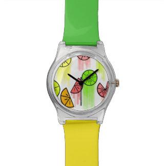 Rebanadas de la fruta cítrica relojes