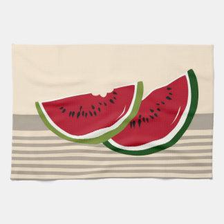 Rebanadas de la sandía toalla de cocina