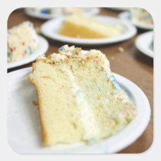 Rebanadas de la torta pegatina cuadrada