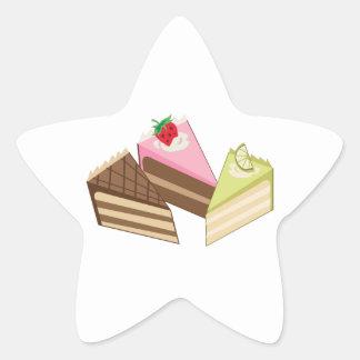 Rebanadas de la torta pegatina en forma de estrella