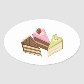 Rebanadas de la torta pegatina ovalada