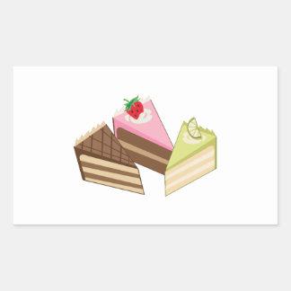 Rebanadas de la torta pegatina rectangular