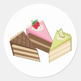 Rebanadas de la torta pegatina redonda
