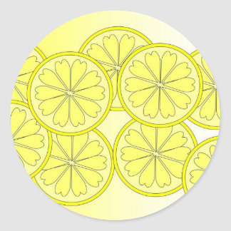 rebanadas del limón pegatina redonda