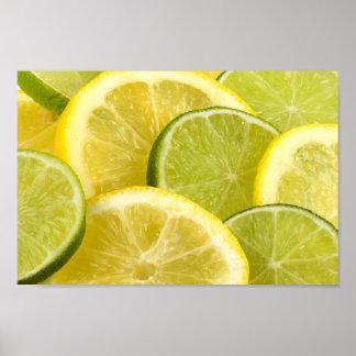 Rebanadas del limón y de la cal póster