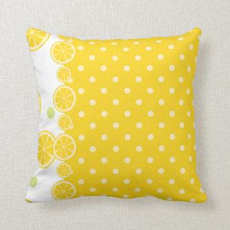 Rebanadas del limón y Polkadots amarillo Cojines
