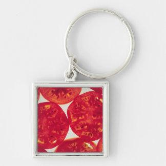 Rebanadas del tomate llavero cuadrado plateado