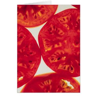 Rebanadas del tomate tarjeta de felicitación