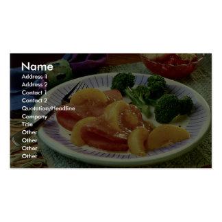 Rebanadas deliciosas del jamón con los melocotones tarjetas de visita