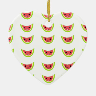 Rebanadas felices de la sandía adorno navideño de cerámica en forma de corazón
