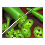 Rebanadas verdes del chile postal