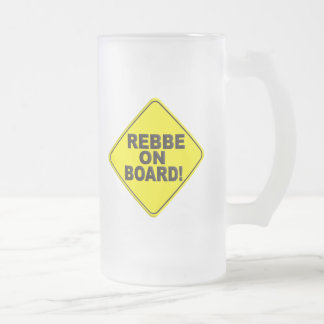 Rebbe on Board Frosted Glass Beer Mug