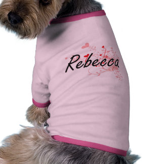 Rebecca Artistic Name Design with Hearts Dog Tee Shirt