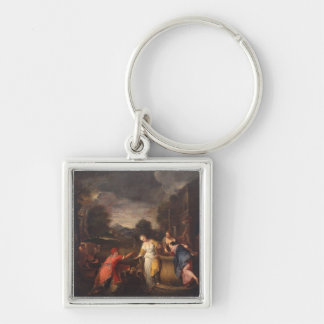 Rebecca at the Well Silver-Colored Square Keychain