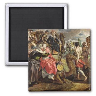 Rebecca Bidding Farewell to her Family, c.1562 2 Inch Square Magnet