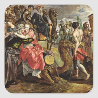 Rebecca Bidding Farewell to her Family, c.1562 Square Sticker