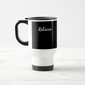 Rebecca Black and White Commuter Mug