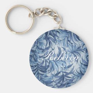 Rebecca Blue Fern Basic Round Button Keychain