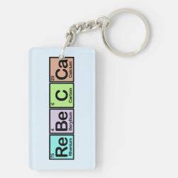 Rectangle Keychain (double-sided) with Rebecca made of Elements design