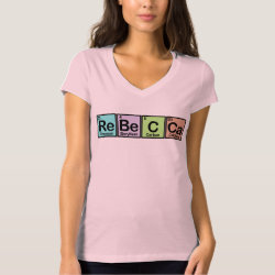 Women's Bella+Canvas Jersey V-Neck T-Shirt with Rebecca made of Elements design