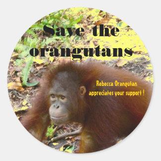 Rebecca Orangutan Wildlife Classic Round Sticker