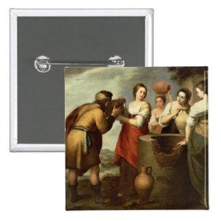 Rebecca y Eliezer en bien, c.1665 Pin Cuadrado