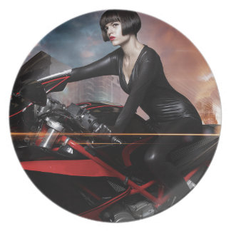 Rebel City, Sensual and Beautiful brunette woman Dinner Plate