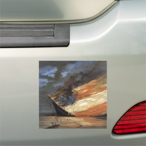 Rebel Civil War flagship on Fire of American flag  Car Magnet