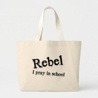 Rebel: I pray in school Large Tote Bag