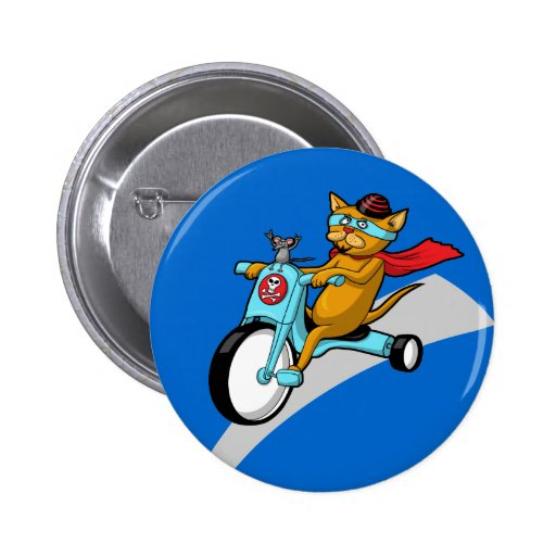 Rebel Kitty Cat with Mouse Pal Pinback Buttons