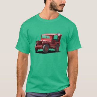 Rebel Red on green MJ Military Vehicle T-Shirt