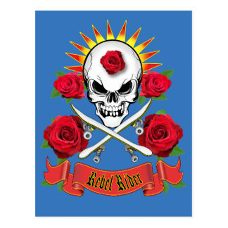 Rebel Rider skateboarding postcard blue