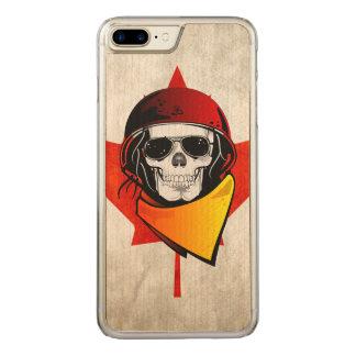 Rebel Skull Distressed Canadian Flag Carved iPhone 7 Plus Case