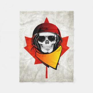 Rebel Skull Distressed Canadian Flag Fleece Blanket