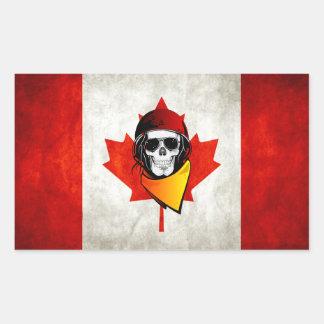 Rebel Skull Distressed Canadian Flag Rectangular Sticker