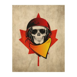 Rebel Skull Distressed Canadian Flag Wood Wall Art
