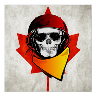 Rebel Skull Distressed Canadian Flag Perfect Poster