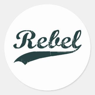 Rebelde 1 etiqueta redonda