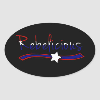 Rebelicious - Red White and Blue Oval Sticker