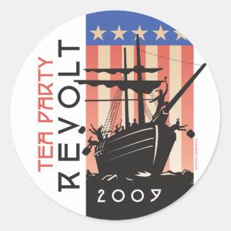 Rebelión 2009 de la fiesta del té etiquetas redondas
